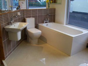 Commercial bathroom fit carried out for Robert Price Showroom in Abergavenny, Monmouthshire