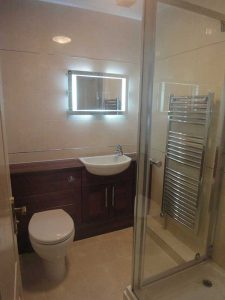 Ensuite bathroom with shower and fitted basin Monmouth