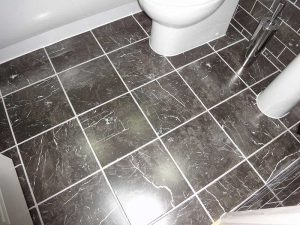 Floor Tiling in bathroom project by Peter Robinson Installations