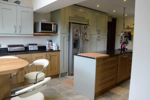 oak and hand painted kitchen with granite worktops