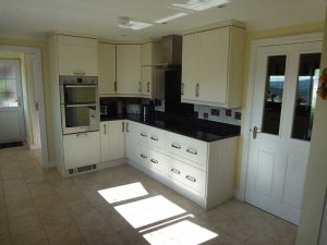 double over in cream and black kitchen