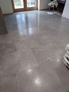 Floor tiling in dining room area