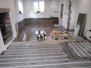 Underfloor heating and tiling in progress