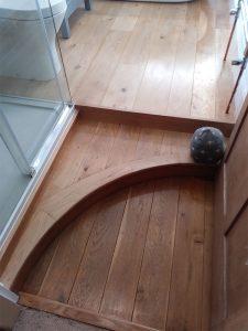 Bespoke carpentry on flooring of bathroom project