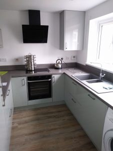 High gloss mint and grey kitchen
