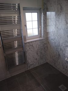 Wet Room with marble effect tiles